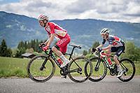 Guillaume Martin (FRA/Cofidis) & Kenny Elissonde (FRA/Trek - Segafredo) up the Col de Joux Plane (HC/1691m/11.6 km@8.5 %)<br /> <br /> 73rd Critérium du Dauphiné 2021 (2.UWT)<br /> Stage 8 (Final) from La Léchère-Les-Bains to Les Gets (147km)<br /> <br /> ©kramon