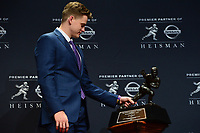 New York, NY - December 14, 2019: LSU Quarterback Joe Burrow poses with the Heisman Trophy after winning the 2019 Heisman Trophy at the New York Marriott Marquis December 14, 2019. He is the second quarterback in LSU history to record back-to-back 10 win seasons. He threw for an SEC record 4,715 yards and 48 TDs. (Photo by Don Baxter/Media Images International)