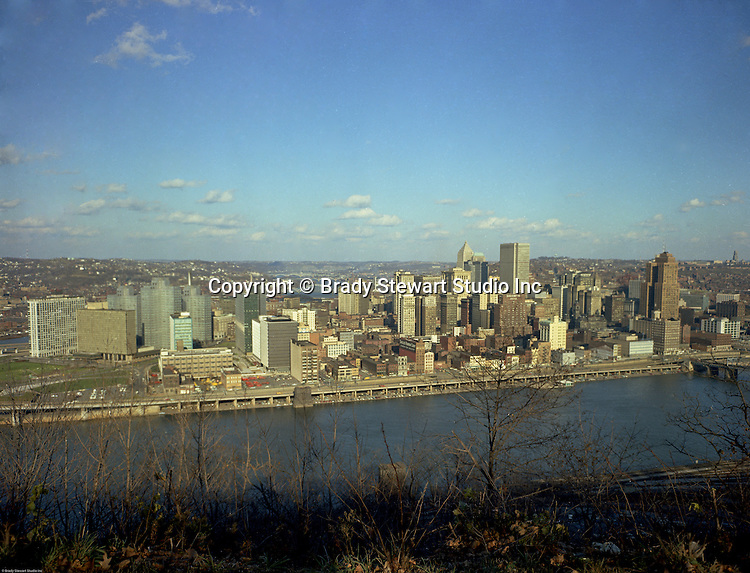 Pittsburgh PA:  View of the skyline and City of Pittsburgh. The new Gateway Towers is open for business.