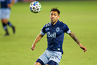 CARSON, CA - OCTOBER 18: Erik Godoy #22 of the Vancouver Whitecaps moves to the ball during a game between Vancouver Whitecaps and Los Angeles Galaxy at Dignity Heath Sports Park on October 18, 2020 in Carson, California.
