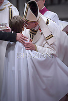 Pope Francis,Baptism during the Easter vigil mass in Saint Peter's Basilica, in the Vatican, 2013..April 18,2014