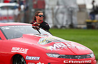 Aug 31, 2019; Clermont, IN, USA; NHRA pro stock driver Erica Enders during qualifying for the US Nationals at Lucas Oil Raceway. Mandatory Credit: Mark J. Rebilas-USA TODAY Sports