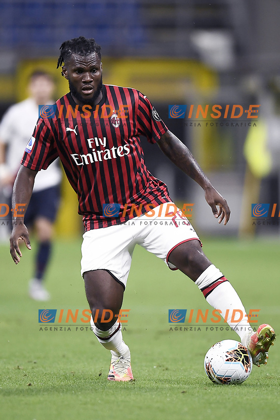 Franck Kessie of AC Milan during the Serie A football match between AC Milan and Bologna FC at stadio Giuseppe Meazza in Milano ( Italy ), July 18th, 2020. Play resumes behind closed doors following the outbreak of the coronavirus disease. <br /> Photo Image Sport / Insidefoto