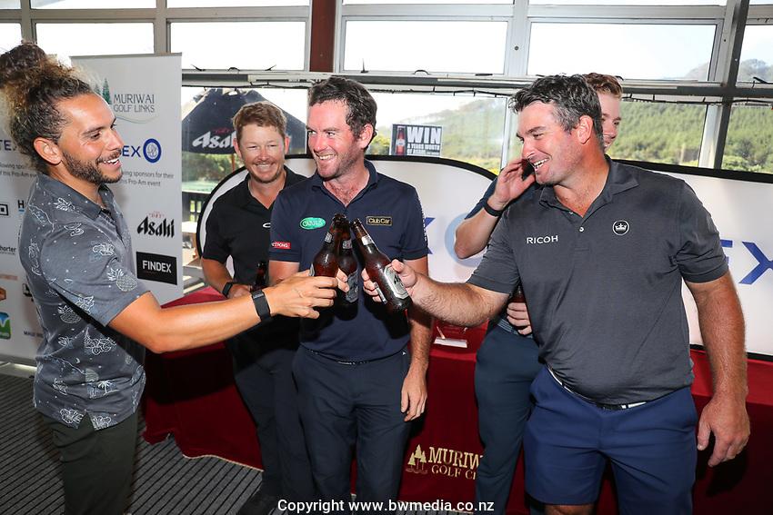 Ryan Fox (R) with Luke Toomey (L) Kieran Muir and Josh Geary. The Autex Muriwai Golf Open, Muriwai Links, Auckland, New Zealand, Sunday 11 April 2021 Photo: Simon Watts/www.bwmedia.co.nz