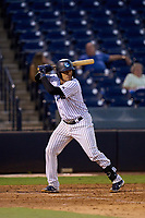 Tampa Tarpons catcher Carlos Narvaez (5) bats during a game against the Lakeland Flying Tigers on July 15, 2021 at George M. Steinbrenner Field in Tampa, Florida.  (Mike Janes/Four Seam Images)