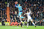 Real Madrid Mariano Diaz Mejia and Deportivo de la Coruña Tyton during La Liga match between Real Madrid and Deportivo de la Coruña at Santiago Bernabeu Stadium in Madrid, Spain. December 10, 2016. (ALTERPHOTOS/BorjaB.Hojas)