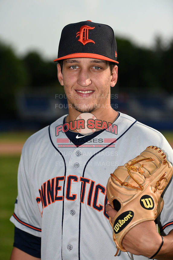 Connecticut Tigers pitcher A.J. Ladwig (23) poses for a photo before a game against the Batavia Muckdogs on July 21, 2014 at Dwyer Stadium in Batavia, New York.  Connecticut defeated Batavia 12-3.  (Mike Janes/Four Seam Images)