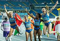 2nd May 2021; Silesian Stadium, Chorzow, Poland; World Athletics Relays 2021. Day 2; Italian womens 4 x 100 gold medalists celebrate. Irene Siragusa , Gloria Hooper, Anna Bongiorni and Vittoria Fontana all in frame