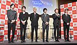 Supernova, Choshinsung, Aug 30, 2013 : Tokyo, Japan :Korean boy band Supernova (L-R, Geonil, Jihyuk, Sungmo, Kwangsu, Yunhak and Sungje) attend a press conference for new promotion video of Lotte Duty Free shop in Tokyo, Japan, on August 30, 2013.