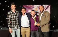 Pictured L-R: Lukasz Fabianski, Neil Taylor, Leon Britton and Ashley Williams Thursday 08 April 2016<br /> Re: Zimkids dinner at the Liberty Stadium, Swansea, UK