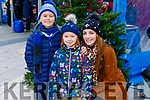 Rian, Soirse and Michelle Moynihan enjoying the festive fun at the Snow Day in the square in Tralee on Saturday.