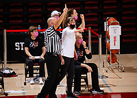 STANFORD, CA - FEBRUARY 05: Tara VanDerveer head coach of the Stanford Cardinal signals after a play during a game between University of Colorado and Stanford University at Maples Pavilion on February 05, 2021 in Stanford, California.