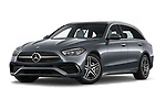 Stock pictures of low aggressive front three quarter view of 2022 Mercedes Benz C-Class AMG-Line 5 Door Wagon Low Aggressive