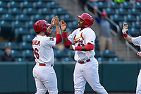 Springfield Cardinals third baseman Elehuris Montero (43) is congratulated after scoring a run by Chris Chinea (26) during a Texas League game against the Amarillo Sod Poodles on April 25, 2019 at Hammons Field in Springfield, Missouri. Springfield defeated Amarillo 8-0. (Zachary Lucy/Four Seam Images)