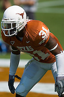 02 September 2006: University of Texas defender Aaron Ross lines up for pass coverage during the Longhorns 56-7 victory over the University of North Texas at Darrell K Royal Memorial Stadium in Austin, TX.