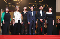 MYRIAM BOYER, FRENCH MINISTER OF CULTURE FRANCOISE NYSSEN, MARINE VACTH, DIRECTOR FRANCOIS OZON, JEREMIE RENIER AND JACQUELINE BISSET - RED CARPET OF THE FILM 'L'AMANT DOUBLE' AT THE 70TH FESTIVAL OF CANNES 2017