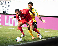 PHILADELPHIA, PA - JUNE 30: Eric Davis #15 and Elvis Powell #5 contest the ball during a game between Panama and Jamaica at Lincoln Financial Field on June 30, 2019 in Philadelphia, Pennsylvania.