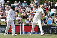 Kyle Jamieson of New Zealand bowls during day one of the second International Test Cricket match between the New Zealand Black Caps and Pakistan at Hagley Oval in Christchurch, New Zealand on Sunday, 3 January 2021. Photo: Martin Hunter / lintottphoto.co.nz