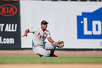 Johnson City Cardinals left fielder Leandro Cedeno (5) slides to catch a ball during the first game of a doubleheader against the Princeton Rays on August 17, 2018 at Hunnicutt Field in Princeton, Virginia.  Johnson City defeated Princeton 6-4.  (Mike Janes/Four Seam Images)