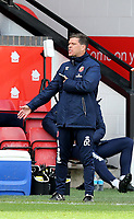 10th October 2020; Bescot Stadium, Walsall, West Midlands, England; English Football League Two, Walsall FC versus Colchester United; Walsall Manager Darrell Clark gets agitated on sideline