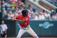 Billings Mustangs left fielder Zeek White (6) at bat during a Pioneer League game against the Ogden Raptors at Lindquist Field on August 17, 2018 in Ogden, Utah. The Billings Mustangs defeated the Ogden Raptors by a score of 6-3. (Zachary Lucy/Four Seam Images)