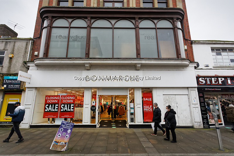 The Bonmarche store which will be closing down in Oxford Street, Swansea, Wales, UK. Monday 30 November 2020