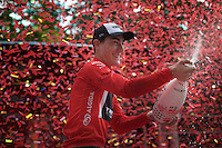 Giacomo Nizzolo (ITA/Trek Factory Racing) celebrating his 2015 Giro maglia rossa (point jersey) victory<br /> <br /> Giro d'Italia 2015<br /> final stage 21: Torino - Milano (178km)