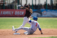 Visalia Rawhide shortstop Raymel Flores (1) attempts to turn a double play in front of Luke Persico (3) during a California League game against the Stockton Ports at Visalia Recreation Ballpark on May 9, 2018 in Visalia, California. Stockton defeated Visalia 4-2. (Zachary Lucy/Four Seam Images)