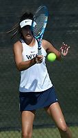 Bentonville West's Cassie Cervantes returns a shot Tuesday, Oct. 12, 2021, during the 6A state tennis finals at Memorial Park in Bentonville. Visit nwaonline.com/211013Daily/ for today's photo gallery.<br /> (NWA Democrat-Gazette/Andy Shupe)