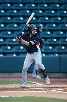 Hill Alexander (8) of the Bowling Green Hot Rods at bat against the Winston-Salem Dash at Truist Stadium on September 7, 2021 in Winston-Salem, North Carolina. (Brian Westerholt/Four Seam Images)