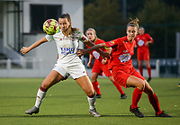 (Left to right) Hannah Eurlings of OHL (9) and Sheila Broos of Woluwe (20) in action during a female soccer game between Oud Heverlee Leuven and Femina White Star Woluwe  on the 5 th matchday of the 2020 - 2021 season of Belgian Womens Super League , Sunday 18 th of October 2020  in Heverlee , Belgium . PHOTO SPORTPIX.BE | SPP | SEVIL OKTEM