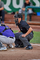 Umpire John Perez handles the calls behind the plate during a game between the Ogden Raptors and the Grand Junction Rockies at Lindquist Field on September 7, 2018 in Ogden, Utah. The Rockies defeated the Raptors 8-5. (Stephen Smith/Four Seam Images)