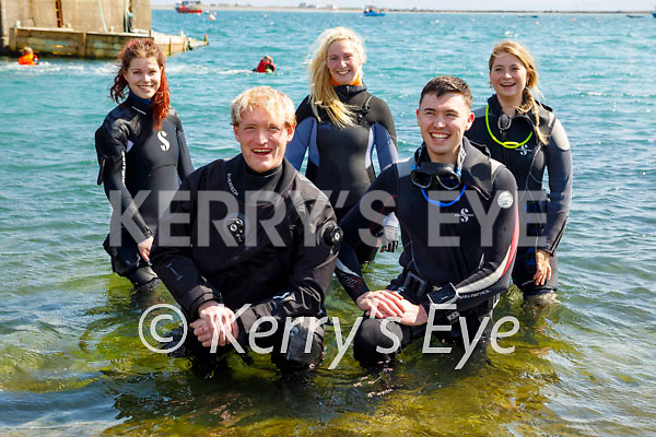 Ready to dive in the waters at Fahamore Harbour on Saturday. Front Kneeling: George Carnegie and Corbyn Bakeberg. Back l to r: Elizabeth Noonan, Sarah Cleary and Charlotte Doolin.