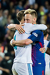 Sergio Ramos (L) of Real Madrid hugs Ivan Rakitic of FC Barcelona after the La Liga 2017-18 match between FC Barcelona and Real Madrid at Camp Nou on May 06 2018 in Barcelona, Spain. Photo by Vicens Gimenez / Power Sport Images