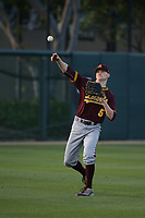 Ryan Lillard (5) of the Arizona Sun Devils throws in the outfield before a game against the Southern California Trojans at Dedeaux Field on March 24, 2017 in Los Angeles, California. Southern California defeated Arizona State, 5-4. (Larry Goren/Four Seam Images)