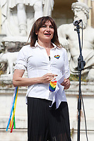 Former transgender deputy Vladimir Luxuria during the demonstration in Piazza del Popolo organized for many associations Lgbtqia and femminists, for the approval of the Zan bill, born to contrast the homostransphobia and any kind of racist violence. <br /> Rome (Italy), May 15th 2021<br /> Photo Samantha Zucchi Insidefoto