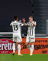 Calcio, Serie A: Juventus - Sampdoria, Turin, Allianz Stadium, September 20, 2020.<br /> Juventus' Delan Kulusevski (r) celebrates after scoring with his teammate Danilo (l) during the Italian Serie A football match between Juventus and Sampdoria at the Allianz stadium in Turin, September 20,, 2020.<br /> UPDATE IMAGES PRESS/Isabella Bonotto