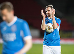 Dave Mackay Testimonial: St Johnstone v Dundee…06.10.17…  McDiarmid Park… <br />Dave Mackay applauds the fans<br />Picture by Graeme Hart. <br />Copyright Perthshire Picture Agency<br />Tel: 01738 623350  Mobile: 07990 594431