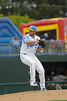 Myrtle Beach Pelicans pitcher Jordan Minch (32) on the mound during a game against the Frederick Keys at Ticketreturn.com Field at Pelicans Ballpark on April 10, 2016 in Myrtle Beach, South Carolina. Myrtle Beach defeated Frederick 7-5. (Robert Gurganus/Four Seam Images)