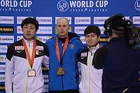 SPEEDSKATING: SALT LAKE CITY: Utah Olympic Oval, 09-03-2019, ISU World Cup Finals, Podium 500m Men, Tatsuya Shinhama (JPN), Pavel Kulizhnikov (RUS), Yuma Murakami (JPN), ©Martin de Jong