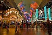 Las Vegas, Nevada.  Fremont Street, Golden Nugget and Binion's Casinos.