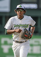 31 July 2016: Vermont Lake Monsters infielder Eric Marinez trots back to the dugout during a game against the Connecticut Tigers at Centennial Field in Burlington, Vermont. The Lake Monsters edged out the Tigers 4-3 in NY Penn League action.  Mandatory Credit: Ed Wolfstein Photo *** RAW (NEF) Image File Available ***