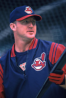 Jim Thome of the Cleveland Indians during a 2001 season MLB game at Angel Stadium in Anaheim, California. (Larry Goren/Four Seam Images)