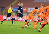 BREDA, NETHERLANDS - NOVEMBER 27: Samantha Mewis #3 of the USWNT takes a shot during a game between Netherlands and USWNT at Rat Verlegh Stadion on November 27, 2020 in Breda, Netherlands.