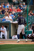 Scranton/Wilkes-Barre RailRiders Clint Frazier (77) bats during an International League game against the Rochester Red Wings on June 24, 2019 at Frontier Field in Rochester, New York.  Rochester defeated Scranton 8-6.  (Mike Janes/Four Seam Images)