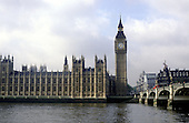 The Houses of Parliament, Big Ben and the River Thames London.