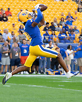 Pitt defensive back Damar Hamlin makes a catch in pregame warmups. The Virginia Cavaliers defeated the Pitt Panthers 30-14 in a football game at Heinz Field, Pittsburgh, Pennsylvania on August 31, 2019.