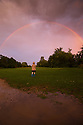 25/08/15<br /> <br /> A young girl watches in awe as a double rainbow adds to the spectacle of an eerie light cast by the setting sun in low cloud above Ashbourne, Derbyshire last night (Monday).<br />  <br /> All Rights Reserved: F Stop Press Ltd. +44(0)1335 418629   www.fstoppress.com.