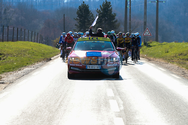 The start of Stage 1 of Paris-Nice 2021, running 166km from Saint-Cyr-l'École to Saint-Cyr-l'École, France. 7th March 2021.<br /> Picture: ASO/Fabien Boukla | Cyclefile<br /> All photos usage must carry mandatory copyright credit (© Cyclefile | ASO/Fabien Boukla)