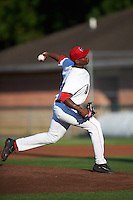 Auburn Doubledays starting pitcher McKenzie Mills (14) during a game against the Mahoning Valley Scrappers on July 19, 2016 at Falcon Park in Auburn, New York.  Mahoning Valley defeated Auburn 9-1.  (Mike Janes/Four Seam Images)